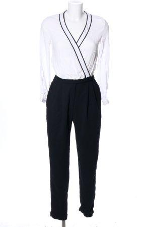 Mango Basics Jumpsuit weiß-schwarz Business-Look