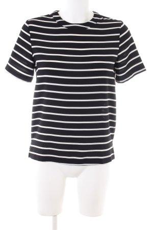 Mango Basics Kurzarm-Bluse schwarz-weiß Streifenmuster Business-Look
