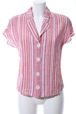 Mango Basics Kurzarm-Bluse weiß-rot Streifenmuster Casual-Look