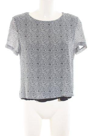 Mango Basics Kurzarm-Bluse weiß-schwarz Allover-Druck Business-Look