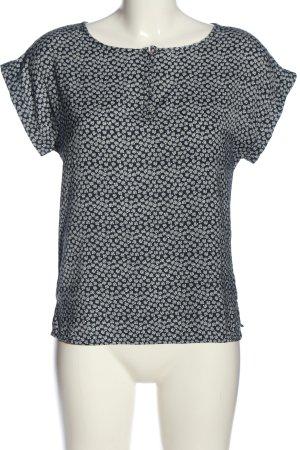 Mango Basics Kurzarm-Bluse schwarz-weiß Allover-Druck Casual-Look