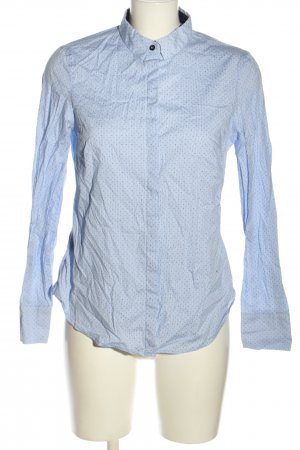 Mango Basics Langarm-Bluse blau-weiß grafisches Muster Business-Look