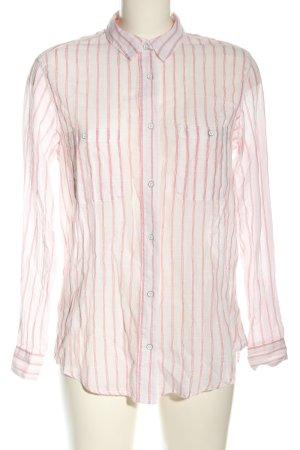Mango Basics Langarmhemd weiß-pink Streifenmuster Business-Look