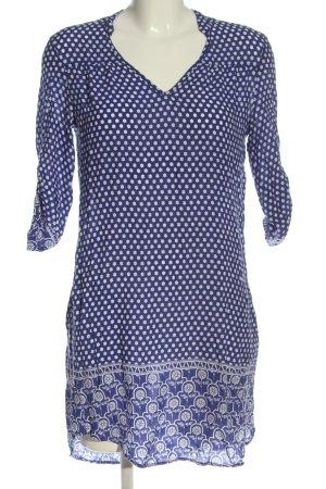 Mango Basics Minikleid blau-weiß abstraktes Muster Casual-Look
