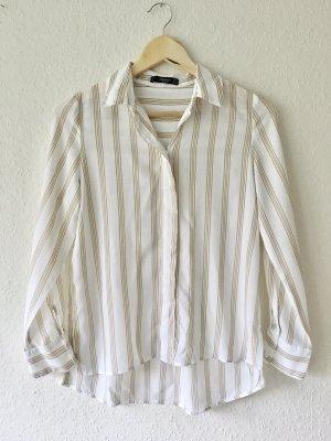 Mango Basics Oversize Hemd Bluse weiß beige gestreift Gr. XS