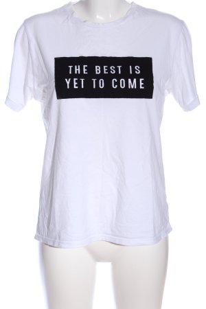 Mango Basics Print-Shirt weiß-schwarz Schriftzug gedruckt Casual-Look