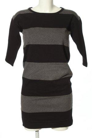 Mango Basics Vestido tipo jersey gris claro-negro estampado a rayas look casual