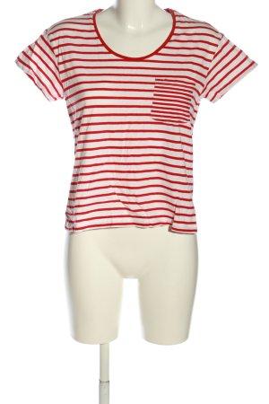 Mango Basics Ringelshirt rot-weiß Streifenmuster Casual-Look