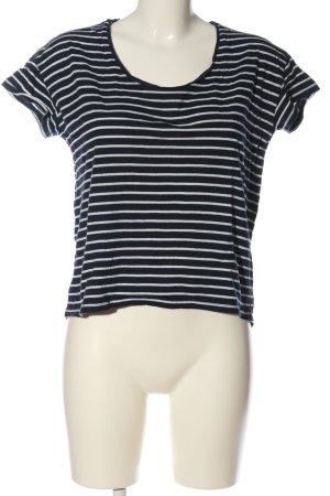 Mango Basics Koszulka w paski niebieski-biały Wzór w paski W stylu casual
