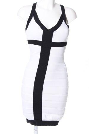 Mango Basics Strickkleid weiß-schwarz Casual-Look