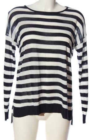 Mango Basics Strickpullover schwarz-weiß Streifenmuster Casual-Look