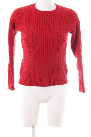 Mango Basics Strickpullover rot Zopfmuster Casual-Look