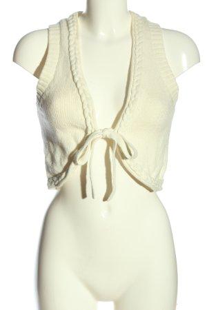 Mango Basics Gebreid vest wit kabel steek casual uitstraling