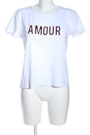 Mango Basics T-Shirt weiß-rot Schriftzug gedruckt Casual-Look