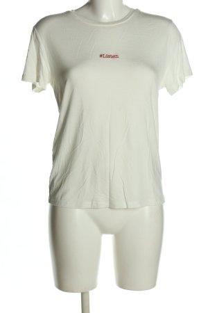 Mango Basics T-Shirt weiß-rot Schriftzug gestickt Casual-Look