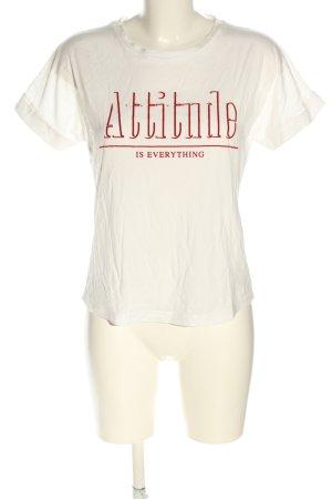 Mango Basics T-shirt wit-rood gedrukte letters casual uitstraling