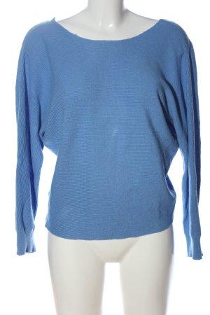 Mango Basics V-Ausschnitt-Pullover blau Webmuster Casual-Look