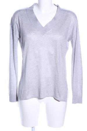 Mango Basics Jersey con cuello de pico gris claro moteado look casual