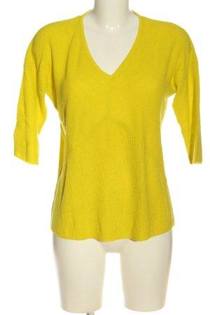 Mango Basics Jersey con cuello de pico amarillo pálido look casual