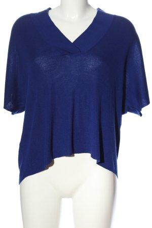 Mango Basics Jersey con cuello de pico azul look casual