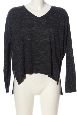 Mango Basics V-Ausschnitt-Pullover schwarz meliert Casual-Look