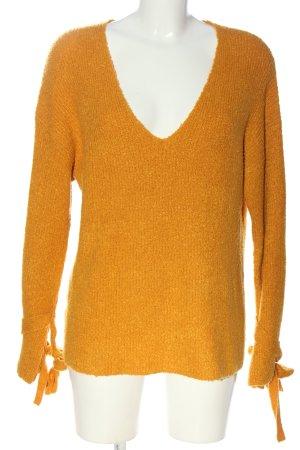 Mango Basics Jersey con cuello de pico naranja claro look casual