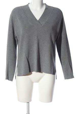 Mango Basics Jersey con cuello de pico gris claro look casual