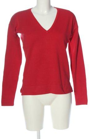 Mango Basics Jersey con cuello de pico rojo punto trenzado look casual