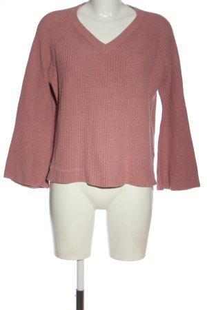 Mango Basics Jersey con cuello de pico rosa look casual