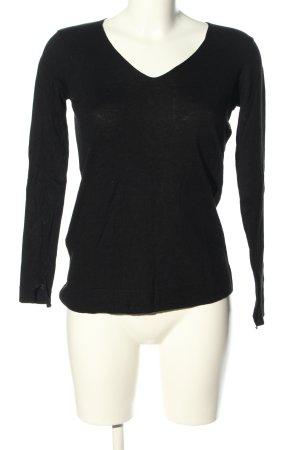 Mango Basics V-Ausschnitt-Pullover schwarz Casual-Look