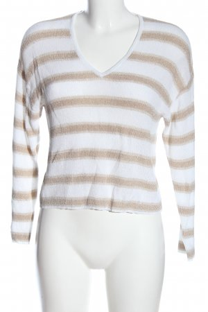Mango Basics Jersey con cuello de pico blanco-color bronce estampado a rayas