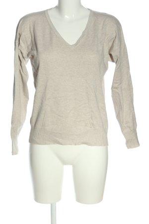 Mango Basics V-Ausschnitt-Pullover wollweiß meliert Casual-Look