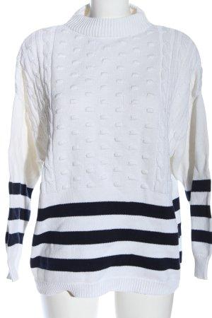 Mango Basics Maglione intrecciato bianco-nero motivo a righe stile casual