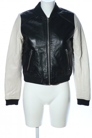 Mango Bikerjacke schwarz-weiß Casual-Look
