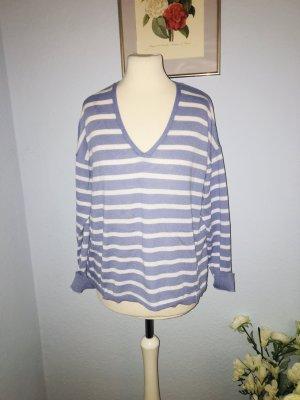 Mango blau und weiß gestreifter Pullover