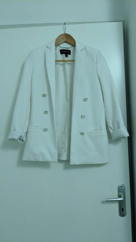 Mango Boyfriend Blazer white-dark blue cotton