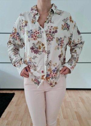 Mango Blumen Hemd XS S M 34 36 weiß oversized Bluse Shirt Top Oberteil Tunika