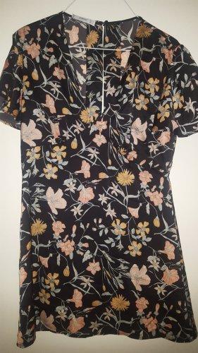Mango Blumen Tunika Bluse schwarz Gr.S (M)