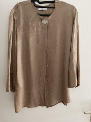 Mango Glanzende blouse cognac-bruin