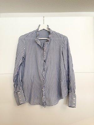 Mango Long Sleeve Blouse white-blue