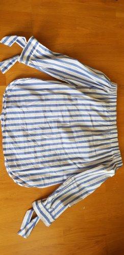 Mango Top épaules dénudées blanc-bleu acier