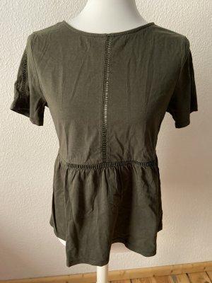 Mango Bluzka z krótkim rękawem zielono-szary-khaki