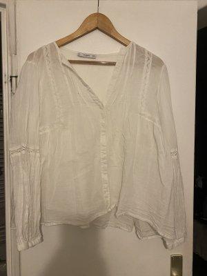 Mango Empiècement de blouses blanc