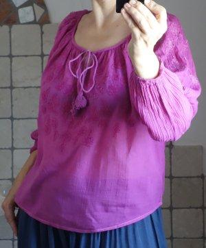 Mango Bluse mit Carmenausschnitt, Stickerei, Bändchen, Kordel, Crepé, tolle Farbe, Pink, weiche Baumwolle, angenehm leicht, luftig, neuwertig, Gr. S