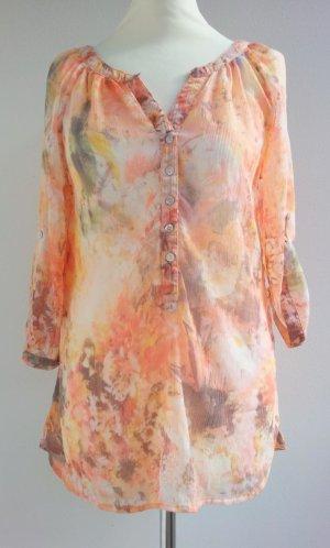 Mango Bluse / Tunika in L (40/42), Orange / Bunt Pastell, Aquarell-Stil