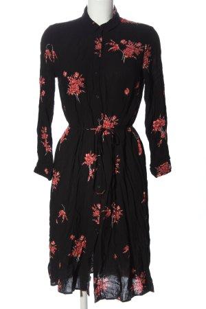 Mango Blusenkleid schwarz-rot Blumenmuster Casual-Look