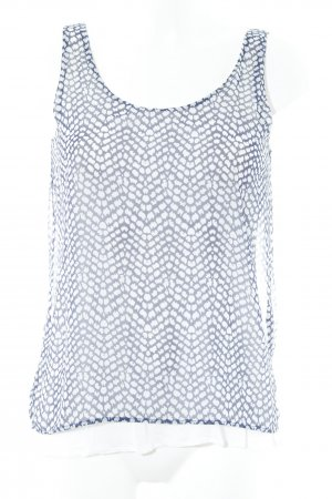 Mango Blusentop weiß-dunkelblau abstraktes Muster Casual-Look