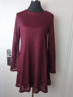 MANGO Casual Boho Spitzen-Kleid in Weinrot, EUR S