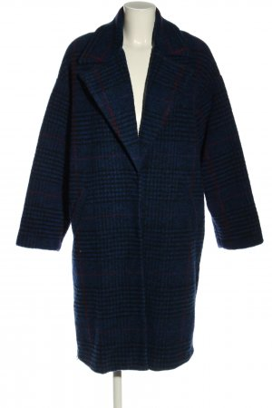 Mango casual Heavy Pea Coat blue-black check pattern casual look