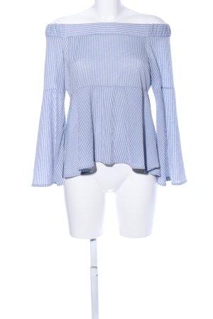 Mango casual Blouse Carmen bleu-blanc motif rayé style d'affaires